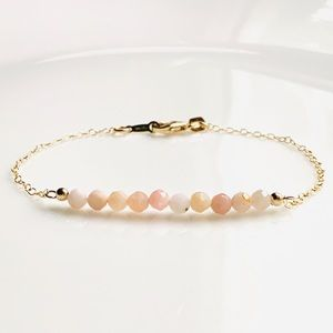 Firmed Natural Pink Opal Gemstone Bracelet 14/20GF